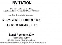 Colloque - Mouvements identitaires et libertés individuelles - le 7 octobre 2019